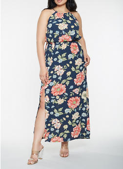 Plus Size Sleeveless Printed Maxi Dress - 0390051060711