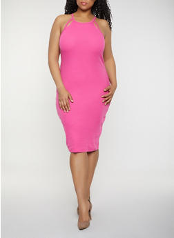 Plus Size Rib Knit Cut Out Tank Dress | 0390051062940 - 0390051062940