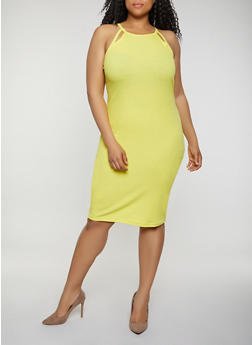 Plus Size Rib Knit Cut Out Tank Dress | 0390051062940 - 0390051062940
