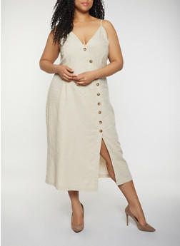 Plus Size Asymmetrical Button Front Cami Dress - 0390051063293