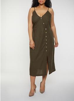 Plus Size Asymmetrical Button Front Cami Dress - 0390051063293