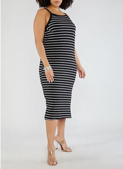 Plus Size Striped Midi Tank Dress - BLACK/WHITE - 0390051063457