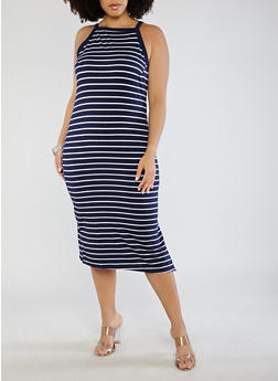Plus Size Striped Midi Tank Dress - 0390051063457