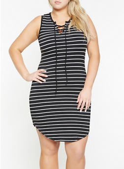 Plus Size Striped Tank Dress - 0390051063500