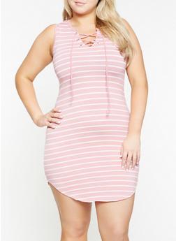 Plus Size Striped Tank Dress - 0390051063500