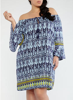Plus Size Printed Off the Shoulder Dress - 0390051063543