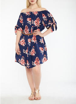 Plus Size Belted Floral Off the Shoulder Dress - 0390051063588
