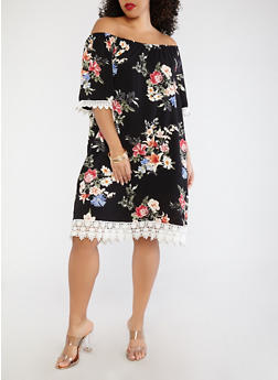 Plus Size Floral Off the Shoulder Dress - 0390051063602