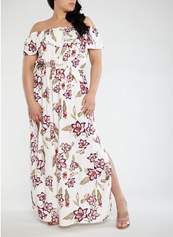 Plus Size Off the Shoulder Maxi Dress - 0390051063618