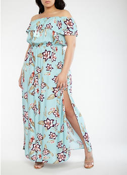 Plus Size Off the Shoulder Maxi Dress - 0390051063618