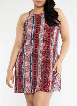 Plus Size Printed Trapeze Tank Dress - 0390051063619