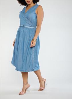 Plus Size Sleeveless Denim Wrap Dress - 0390051063665