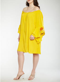 Plus Size Off the Shoulder Bell Sleeve Dress - 0390051063677