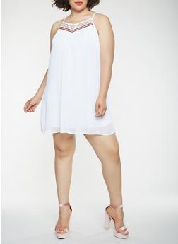 Plus Size Crochet Trim Mini Dress - 0390051063685