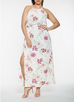 Plus Size Sleeveless Printed Maxi Dress - 0390051063711