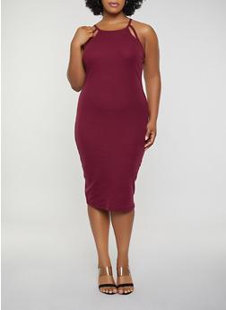 Plus Size Rib Knit Cut Out Tank Dress - 0390051063940