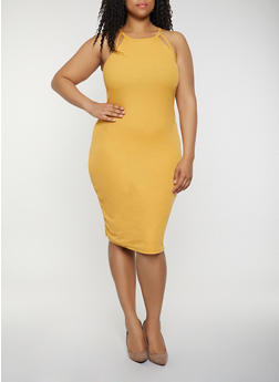 Plus Size Rib Knit Cut Out Tank Dress - 0390051063940