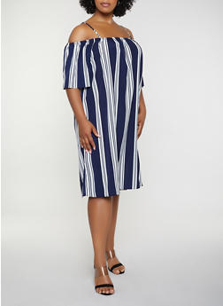 Plus Size Striped Cold Shoulder Shift Dress - 0390051063966
