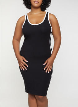 Plus Size Varsity Stripe Tank Dress - 0390051063995