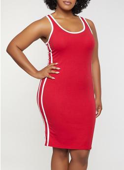 Plus Size Varsity Stripe Tank Dress - 0390051063995