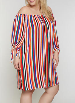 Plus Size Striped Crepe Knit Off the Shoulder Dress - 0390051064002