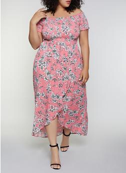 Plus Size Floral Smocked Off the Shoulder Maxi Dress - 0390051064041