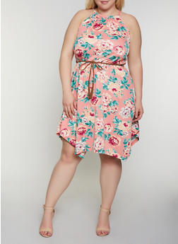 Plus Size Floral Belted Skater Dress - 0390051064042