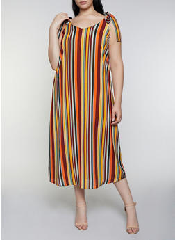 Plus Size Striped Tie Strap Midi Dress - 0390051064133