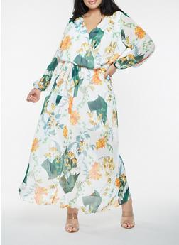Plus Size Floral Faux Wrap Maxi Dress - 0390051064468
