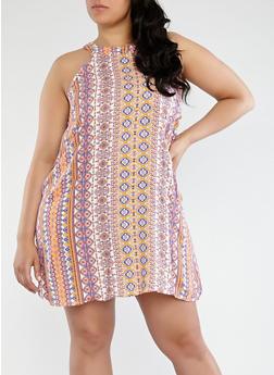 Plus Size Printed Dress - 0390051066619