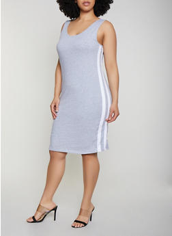 Plus Size Varsity Stripe Tank Dress | 0390054260881 - 0390054260881