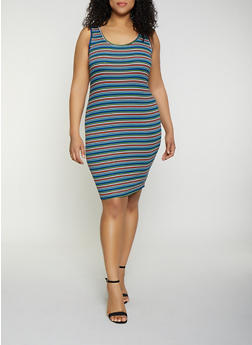 Plus Size Rib Knit Striped Tank Dress - 0390054261144