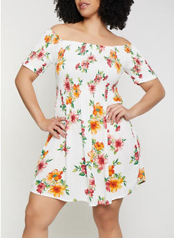 Plus Size Smocked Off the Shoulder Skater Dress - 0390054261462