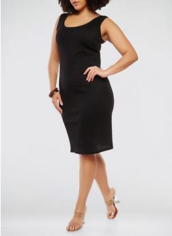 Plus Size Rib Knit Tank Dress - BLACK - 0390054267277