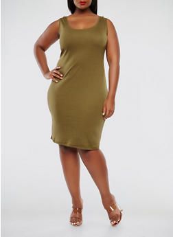 Plus Size Rib Knit Tank Dress - 0390054267277