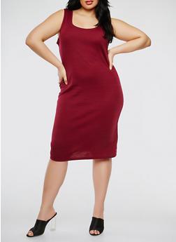 Plus Size Rib Knit Tank Dress - 0390054267277