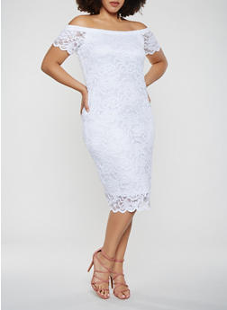Plus Size Lace Off the Shoulder Dress - WHITE - 0390054267800
