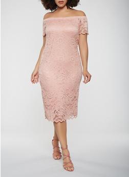 Plus Size Lace Off the Shoulder Dress - 0390054267800