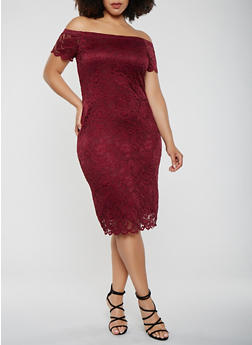 Plus Size Lace Off the Shoulder Dress - 0390054267800