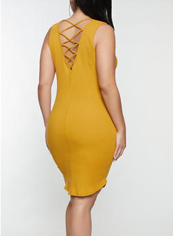 Plus Size Caged Back Rib Knit Tank Dress - 0390054269362