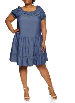 Plus Size Chambray Tiered Shift Dress - 0390056120677