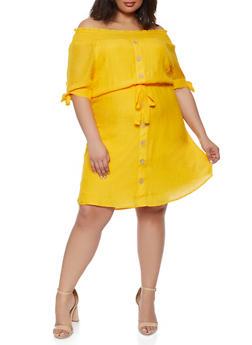 Plus Size Off the Shoulder Tie Waist Belted Shift Dress - 0390056120696
