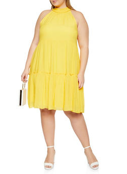 Plus Size High Neck Tiered Sleeveless Dress - 0390056120698