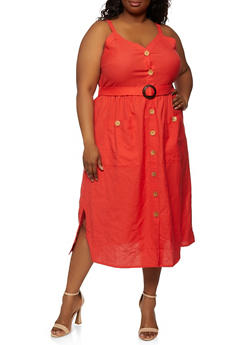 Plus Size Belted Button Front Dress - 0390056120706