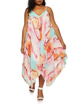 Plus Size Printed Sharkbite Hem Dress with Necklace - 0390056120746