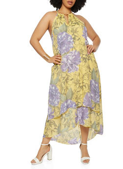 Plus Size Floral Print Tiered High Low Dress - 0390056120821