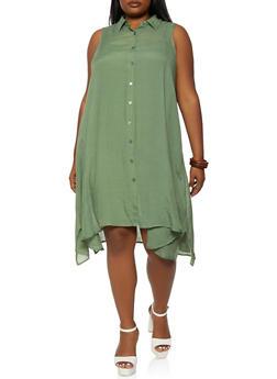 Plus Size Sleeveless Trapeze Shirt Dress - 0390056120825