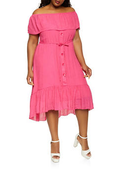 Plus Size Ruffle Overlay Off the Shoulder Dress - 0390056120826