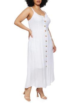 Plus Size Button Front Maxi Dress - 0390056120827