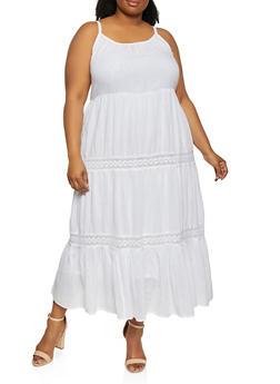 Plus Size Crochet Detail Tiered Cami Dress - 0390056120935